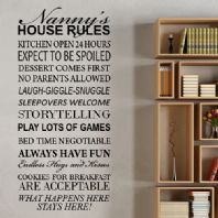 Grandparents House Rules Wall Sticker  ~ Wall sticker / decals -Personalised